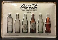 COCA COLA In The Distinctive Vintage Bottle Metal Sign 3D Embossed Steel 20x30cm