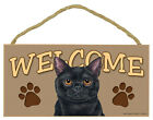 BLACK CAT 5 x 10 Wood WELCOME SIGN Plaque USA Made