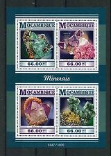 Mozambique 2015 MNH Minerals 4v M/S Quartz Amethyst Calcite Galena Stamps