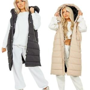 Long Womens Hooded Quilted  Gilet Waistcoat Puffer Padded Vest Bodywarmer