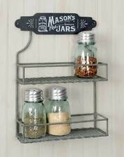 Vintage Shabby Chic Rustic Chicken Wire Wall Mount Grey Spice Rack