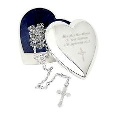 Personalised Trinket Box and Rosary Beads Christening Communion Christmas Gift