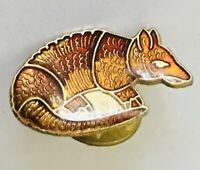 Armadillo Texas Native Animal Brooch Pin Badge Rare Vintage (R4)