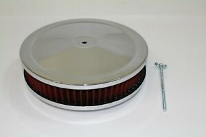 """Air Cleaner  9"""" X 2"""": Washable element Chrome top & base SB/BB Chevy 350  454"""
