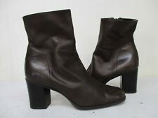 Nine West Leland Brown Leather Zip Ankle Boots Womens Size 6 M