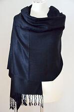 Pashmina Schal Stola Paisley 55% Viskose & 45% Polyacryl Schwarz ca.180x73cm