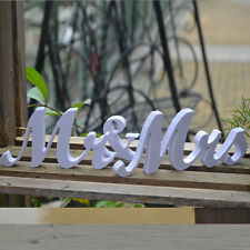 Chic Mr and Mrs White PVC Letters Sign Wooden Standing Top Table Wedding Decor
