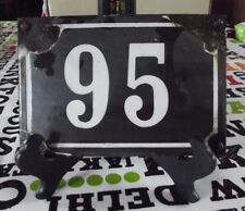 Large old black French house number 95 door gate wall plate enamel metal sign