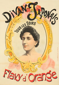 Original Vintage Poster Divan Japonais Flavy d'Orange Ener Art Nouveau French