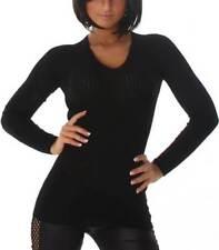 Maglie e camicie da donna nero a righe con scollo a v
