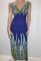 Unbranded Purple Peacock Print Sleeveless Maxi Dress Size S-M BNWT #LIN