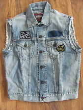 Barbour Int'l Triumph Rider Sleeveless Denim Vest-Patches & Distress-Mens S-NWT