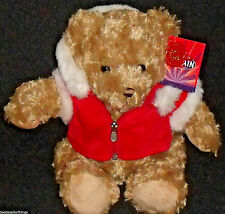 "Keel Toys Teddy Bear Glorious Britain Red Christmas Jacket 9.75"" With Tags"