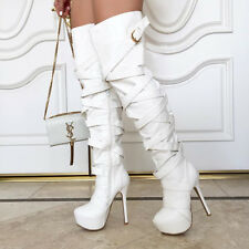 White Strappy Platform Stiletto Heel Thigh High Boots, US 9.5