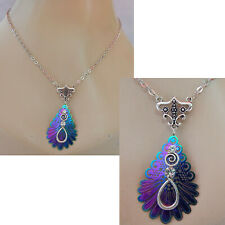 Peacock Necklace Silver Pendant Jewelry Handmade Women Blue Knot Feather Chain