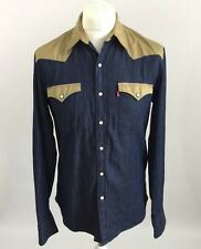 Levi's Denim Two Tone Western Rodeo Button Down Slim Fit Shirt, Size Medium