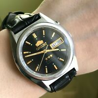 Classic ORIENT Men's Japan Automatic Crystal English French Watch Day Steel Date