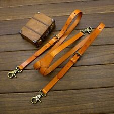 "Men Genuine Leather Suspender Strap Jeans Y back Belt 0.7"" Width Brown Hook"