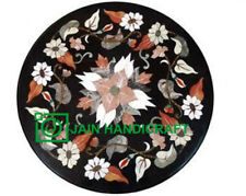 """22"""" Black Marble Coffee Center Table Top Stone Handmade Inlay Art Home s5"""