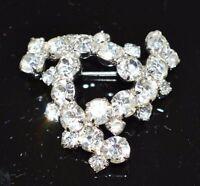 VTG Silver Tone Clear Rhinestone Infinity Triangle Swirl Pin Brooch