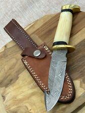 Couteau de chasse à dépecer lame damas  , manche os avec étui cuir cousu main