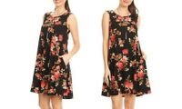 NEW Women's Floral Printed Sleeveless Dress Tunic Pockets Stretch Black Plus 1XL