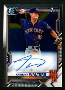 Anthony Walters 2021 Bowman Chrome 1st Prospect Base On-Card Auto RC Mets A