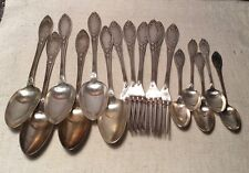 Antique French Silver Plate Art Nouveau 18 Piece Flatware Set C&L