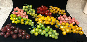 10 Bunches Of Vintage Stone Marble Alabaster Grapes With Plastic Stems (FL)