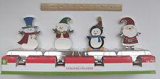 4 New Christmas Stocking Holders Hanger Santa Penguin Snowman Enamel NIB