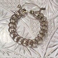 VTG High End Signed Monet Charm Heart Bracelet Statement Silver 1950s