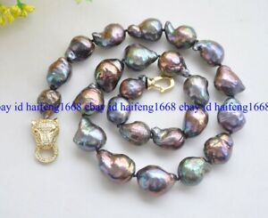 Echte AAA++ 14-16mm schwarze Barocke Keshi Edison Perlenkette 18''