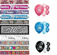 70th BIRTHDAY BANNERS PINK BLUE BLACK MULTI PARTY DECORATIONS
