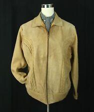 Vintage McGregor Tan Suede Leather Cable Knit Coat Jacket - Lg Med