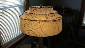 Mcm fiberglass triple lamp shade retro atomic.