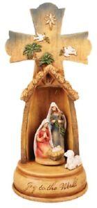 Xmas Nativity Cross Joy to the World Nativity Scene Musical Xmas Ornament