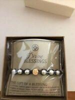 My Saint Hero Divine Blessing Bracelet - White Pearl, Silver Medal, Black