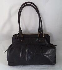Betty Jackson Black Leather Bag Handbag Double Straps