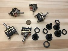 5 Pieces Black waterproof cap On Off 2 pin SPST Metal Toggle Switch 15a 1/2 c19