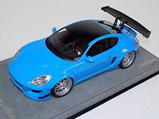 1/18 AB Models Porsche Cayman Rocket Bunny Gloss Baby Blue Alcantara no decals