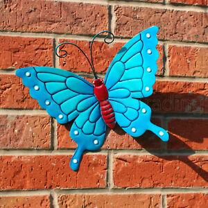 BUTTERFLY LARGE NEW BLUE METAL BUTTERFLIES WALL ART OUTDOOR GARDEN DECORATION