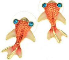 PAIR GOLDFISH STUD EARRINGS ORANGE studs koi carp enamel rhinestone kitsch E12