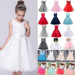 Mädchen Festlich Kleid Prinzessin Hochzeit Spitze Kleider Blumenmädchenkleid DE