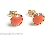 9ct Gold Coral Round stud Earrings Gift Boxed Studs Made in UK