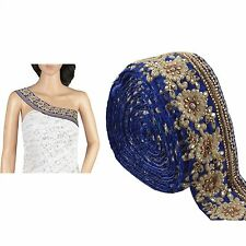 Hand Beaded Party Prom Dress Border 1 YD Trim Blue Craft Lace COLLECTIBLE EDH