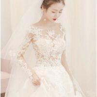 Fashion Women White Long Sleeve Princess Gown Lace Wedding Bridal Dress Applique