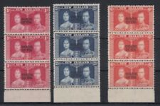 Cook Islands 1937 Coronation MNH strips SG124-126