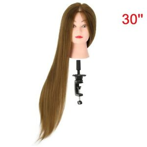 30'' Salon Hairdressing Training Head 50% Real Human Hair Mannequin Doll & Clamp