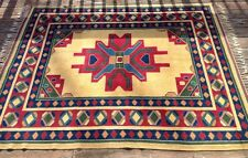 Vintage Colorful Flat Weave Turkish Persian Geometric Area Rug 100% Wool 5x6