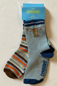 NWT Gymboree Moose Lodge Sz 4-5 Light Blue Moose & Brown Striped Socks 4T-5T